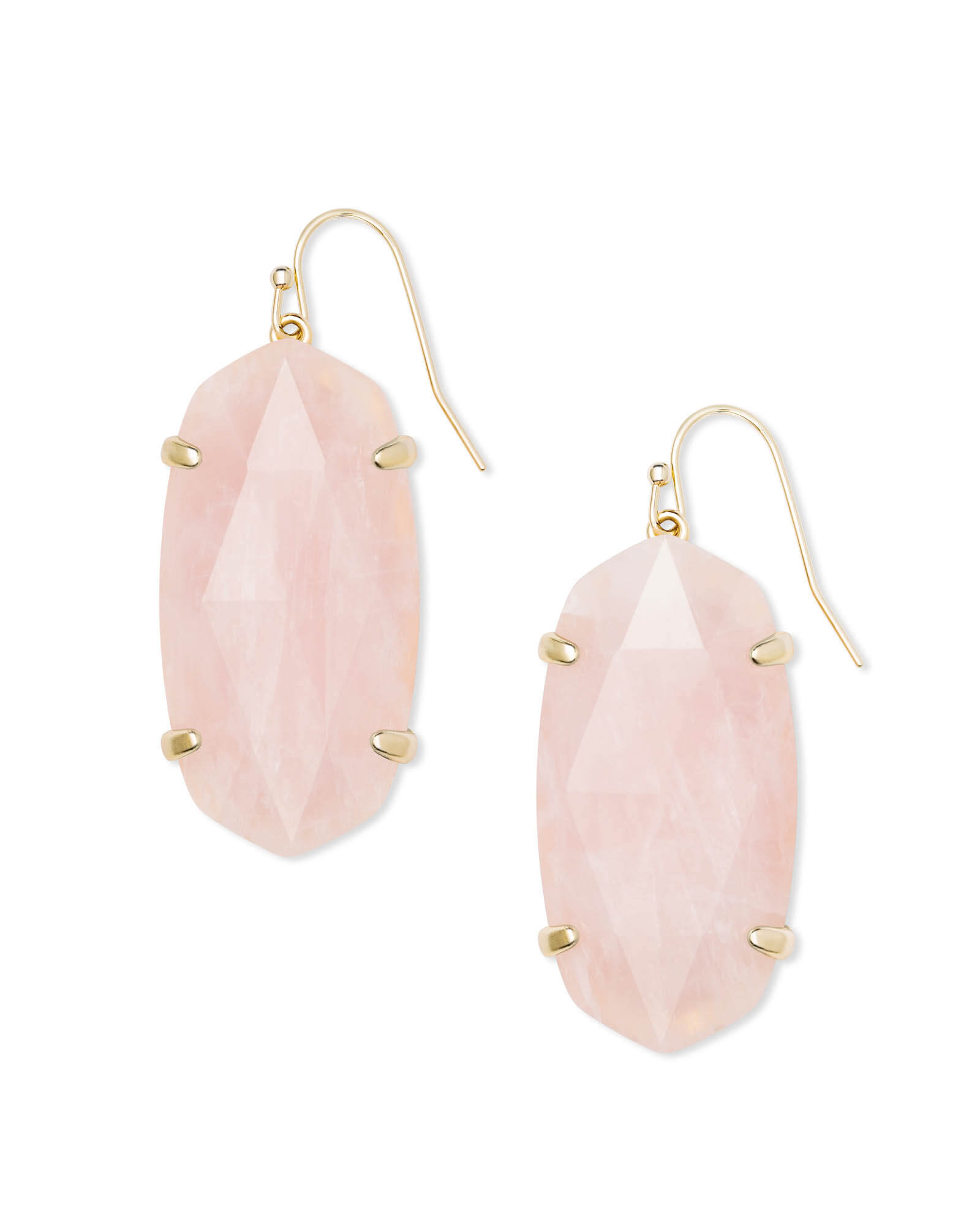 Esme Gold Drop Earrings In Rose Quartz