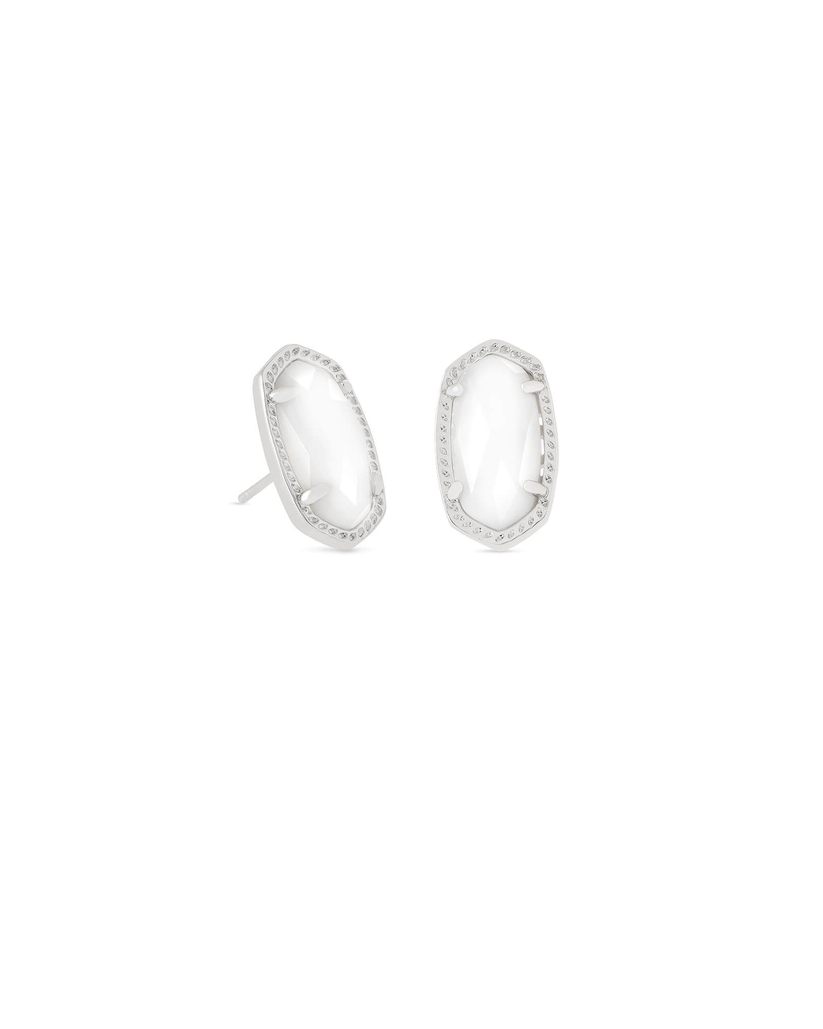 Ellie Silver Stud Earrings in White Pearl