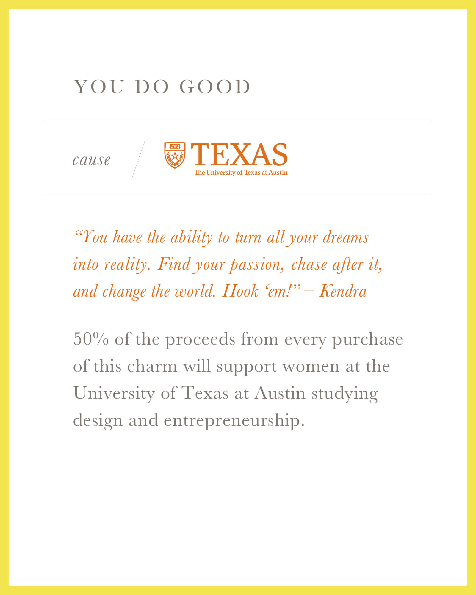 The University of Texas at Austin Longhorn Charm in Gold