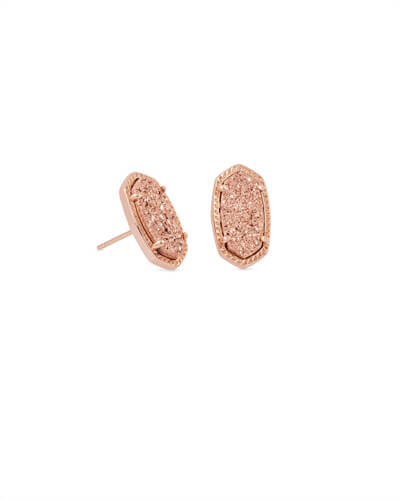 Ellie Rose Gold Stud Earrings in Rose Gold Drusy