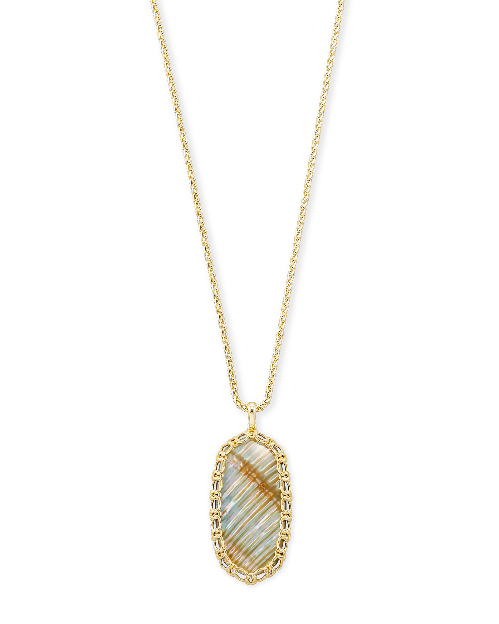 Macrame Reid Gold Long Pendant Necklace In Nude Abalone