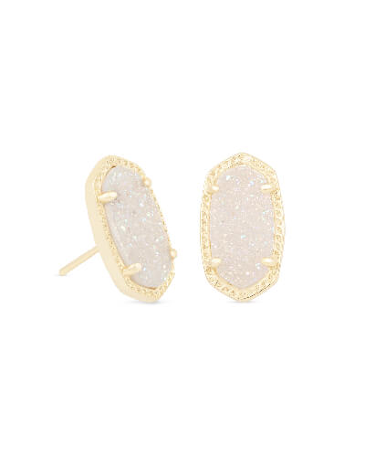 Ellie Gold Stud Earrings in Iridescent Drusy