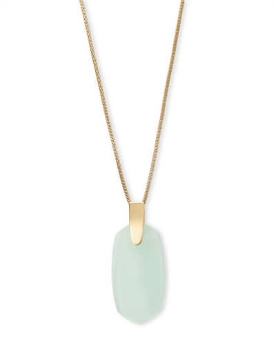 Inez Gold Long Pendant Necklace in Chalcedony Glass