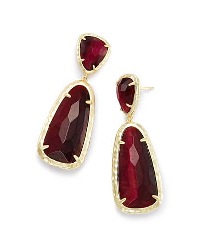 Daria Statement Earrings in Bordeaux Tiger's Eye
