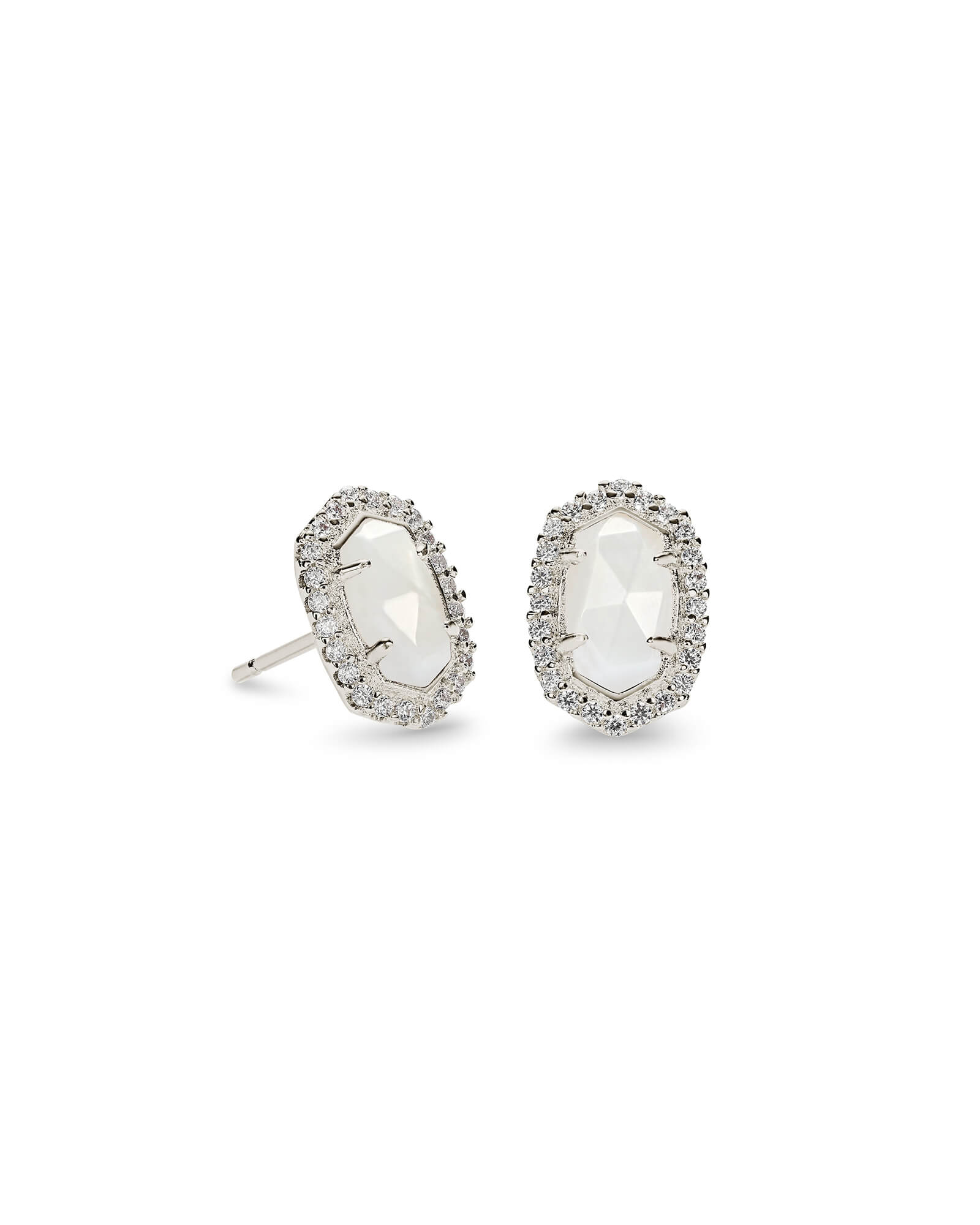 Cade Silver Stud Earrings in White Pearl