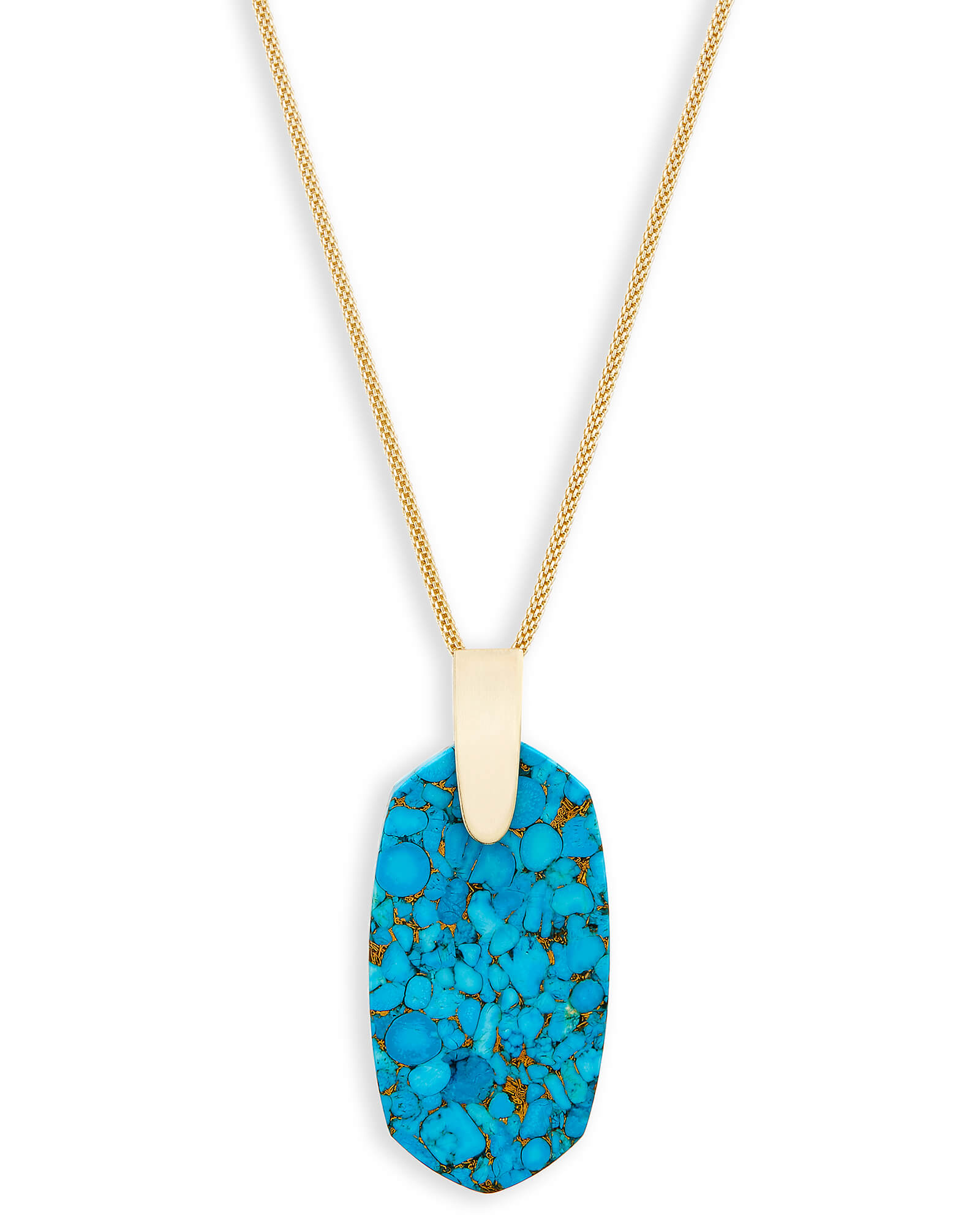 Inez Long Pendant Necklace in Bronze Veined Turquoise