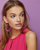 Thomas Matte Magenta Drop Earrings in Rose Translucent Glass