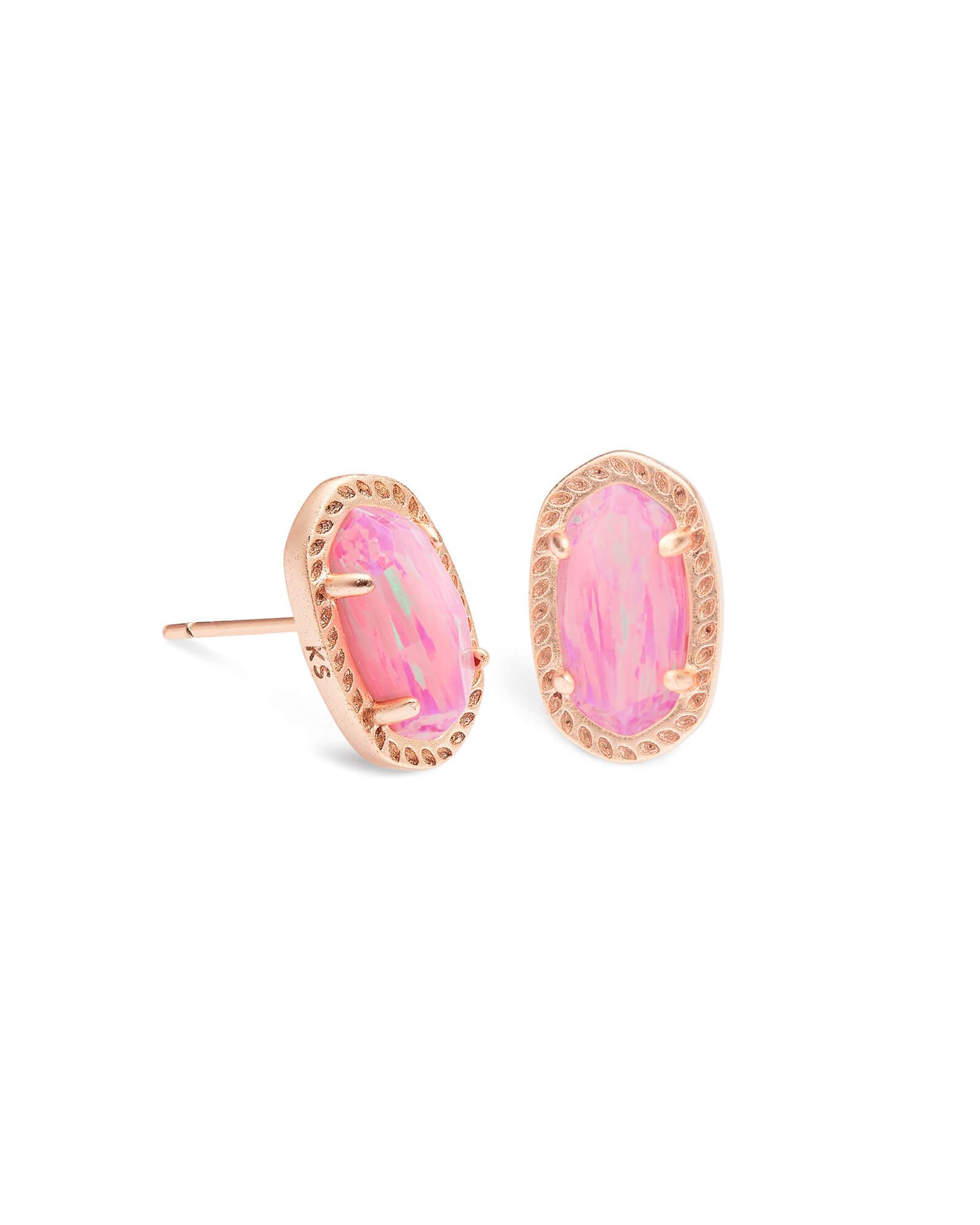 Emery Rose Gold Stud Earrings In Light Pink Opal