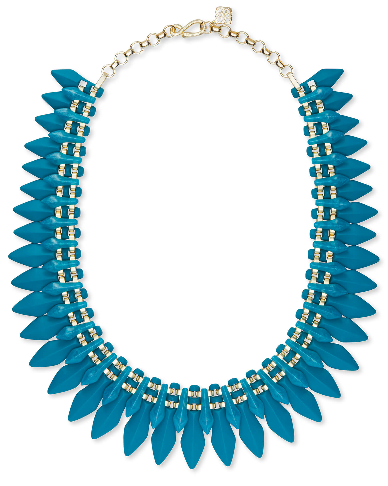 Lazarus Gold Statement Necklace in Teal Marbled Acrylic
