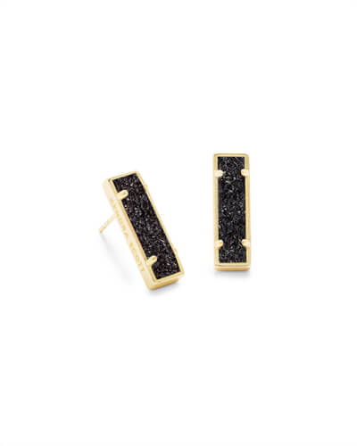 Lady Gold Stud Earrings Black Drusy