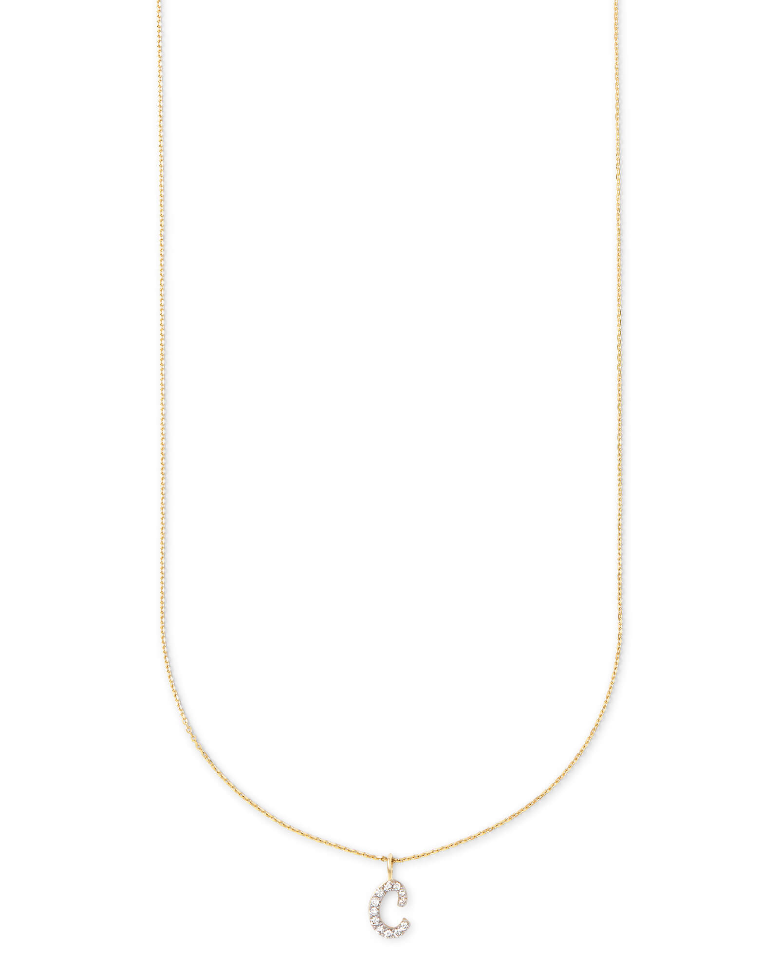 Diamond Letter C Pendant Necklace in 14K Yellow Gold