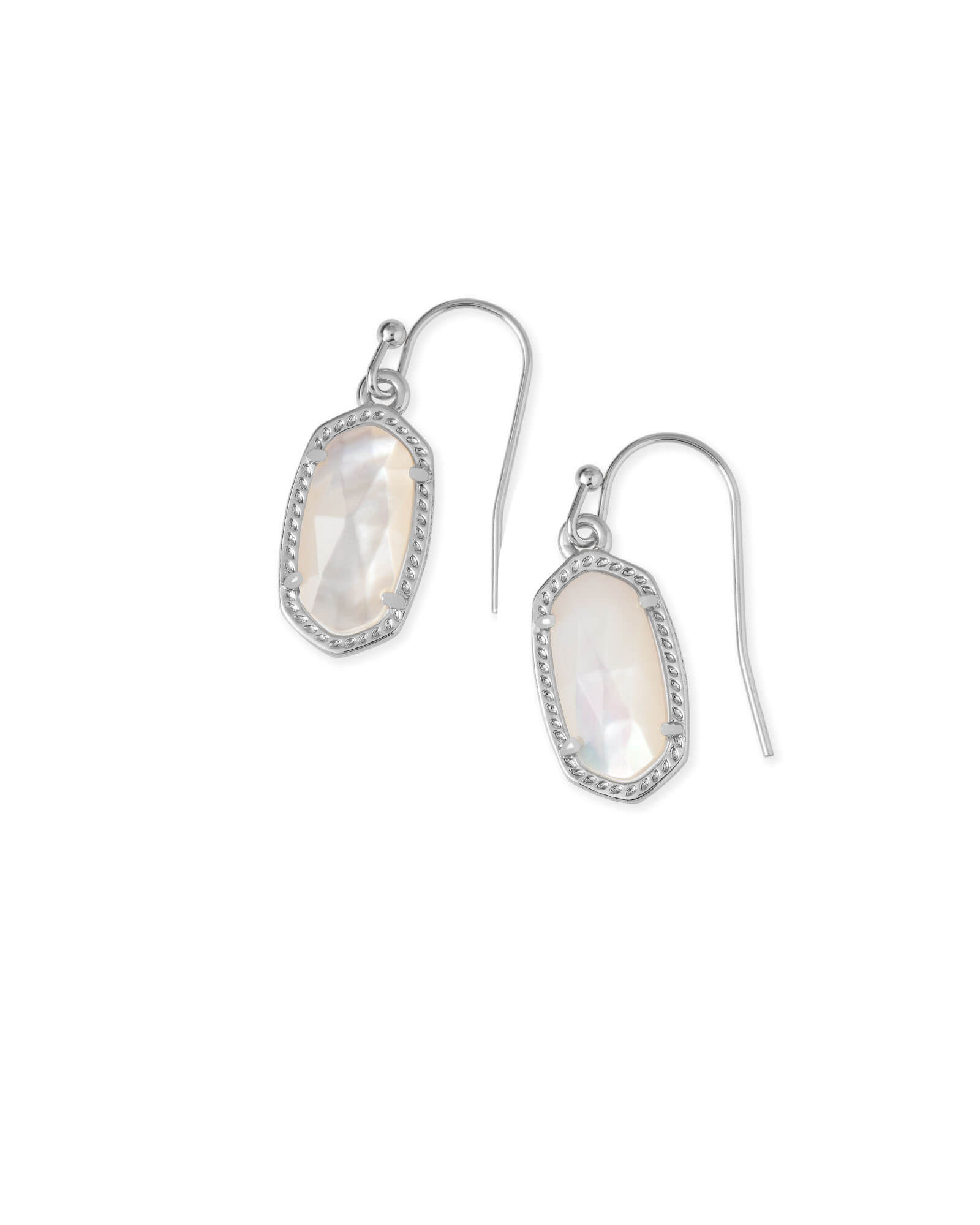 Lee Silver Drop Earrings in Ivory Pearl