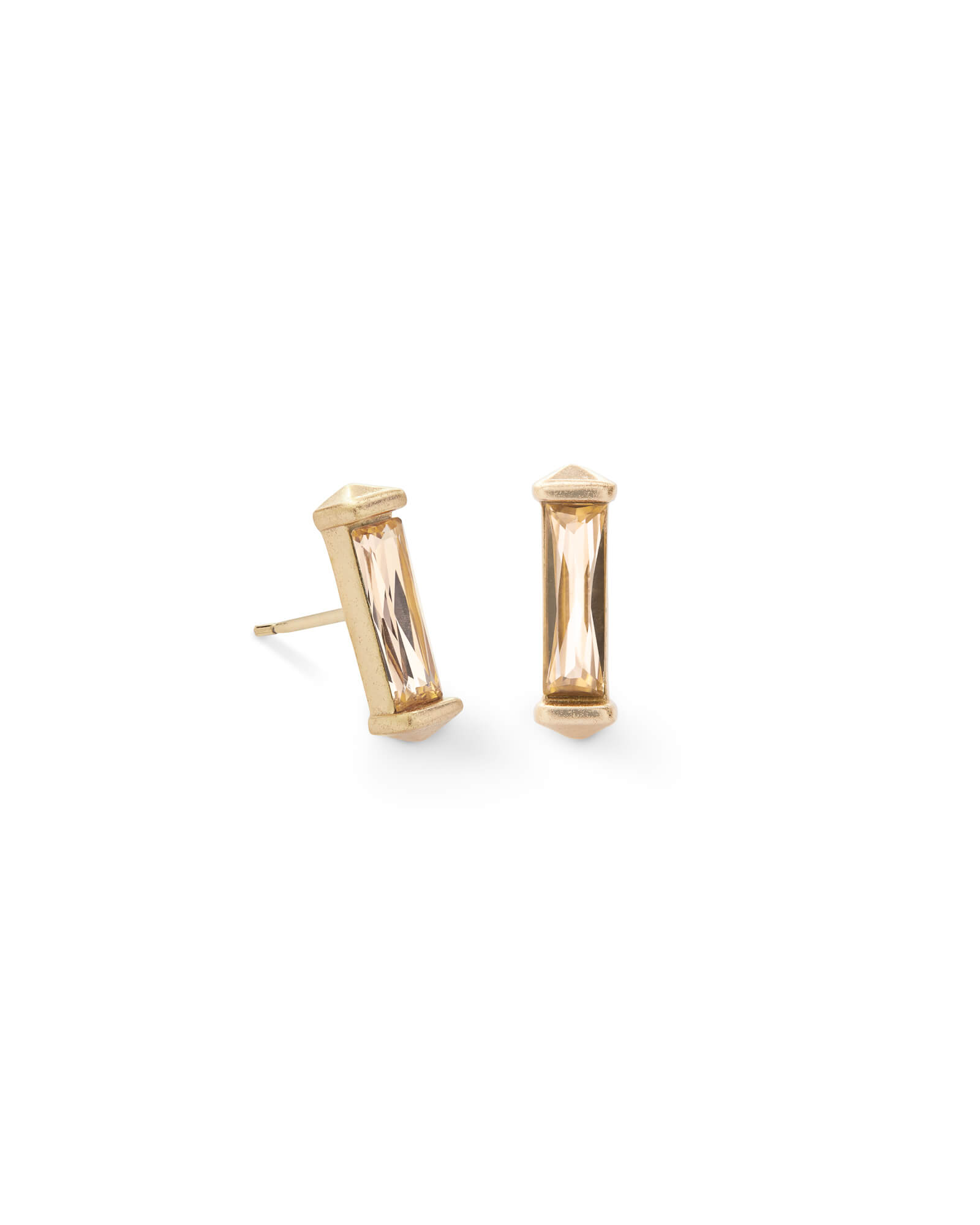 Fletcher Gold Stud Earrings in Smoky Crystal