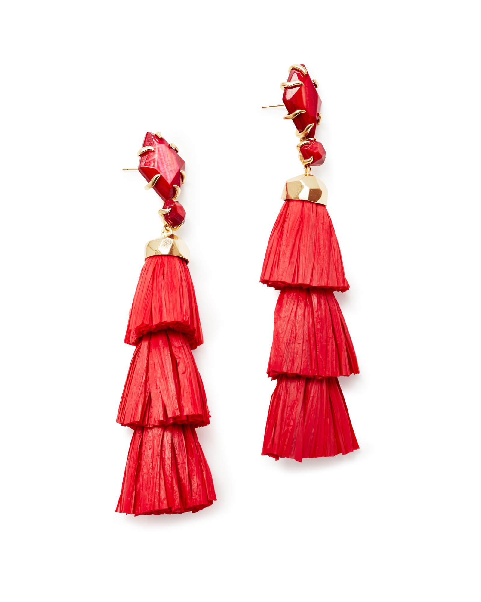 Denise Gold Statement Earrings In Red Mother of Pearl