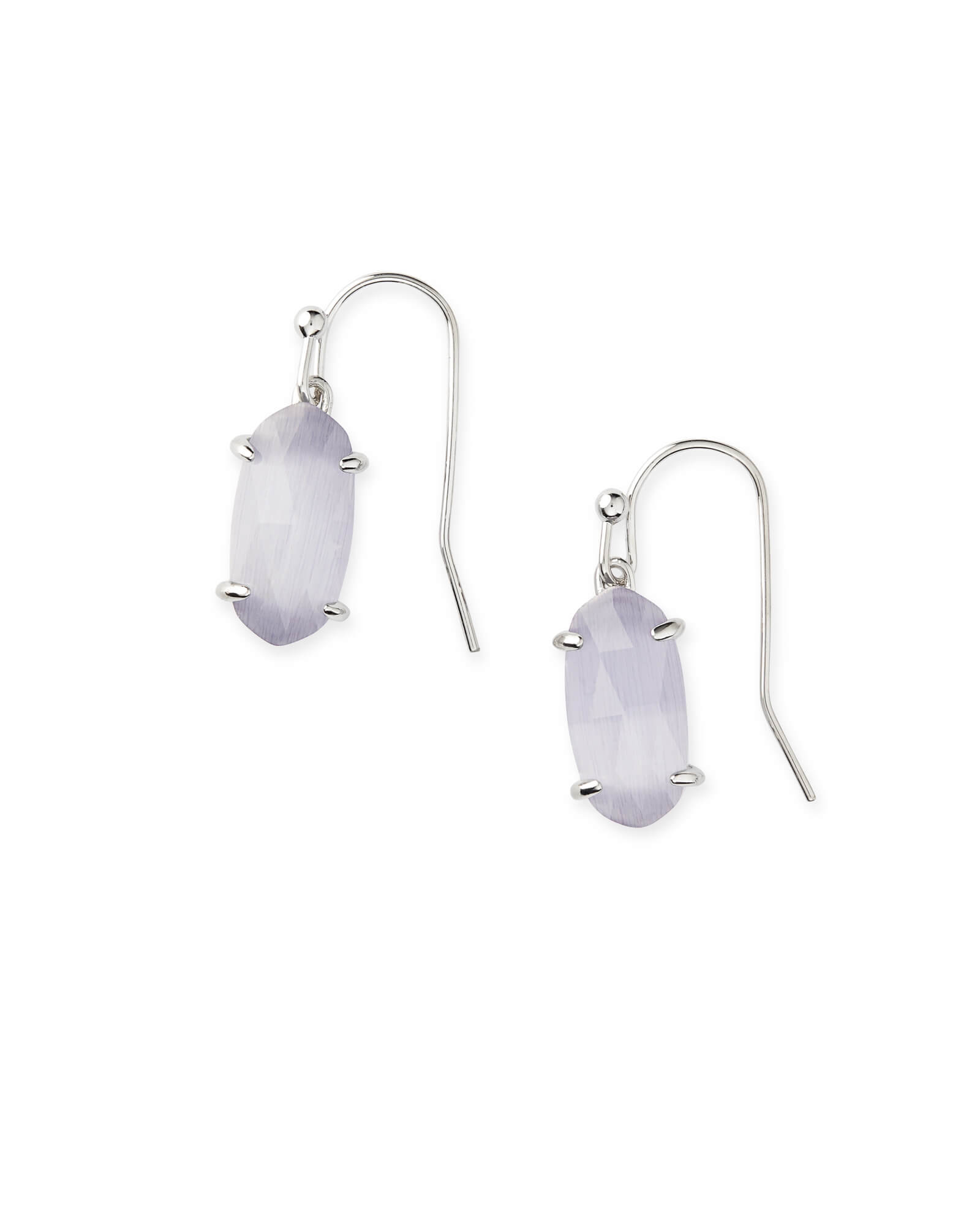 Lemmi Silver Drop Earrings in Slate Cat's Eye