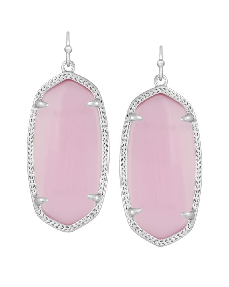 Elle Silver Earrings In Pink Cat's Eye