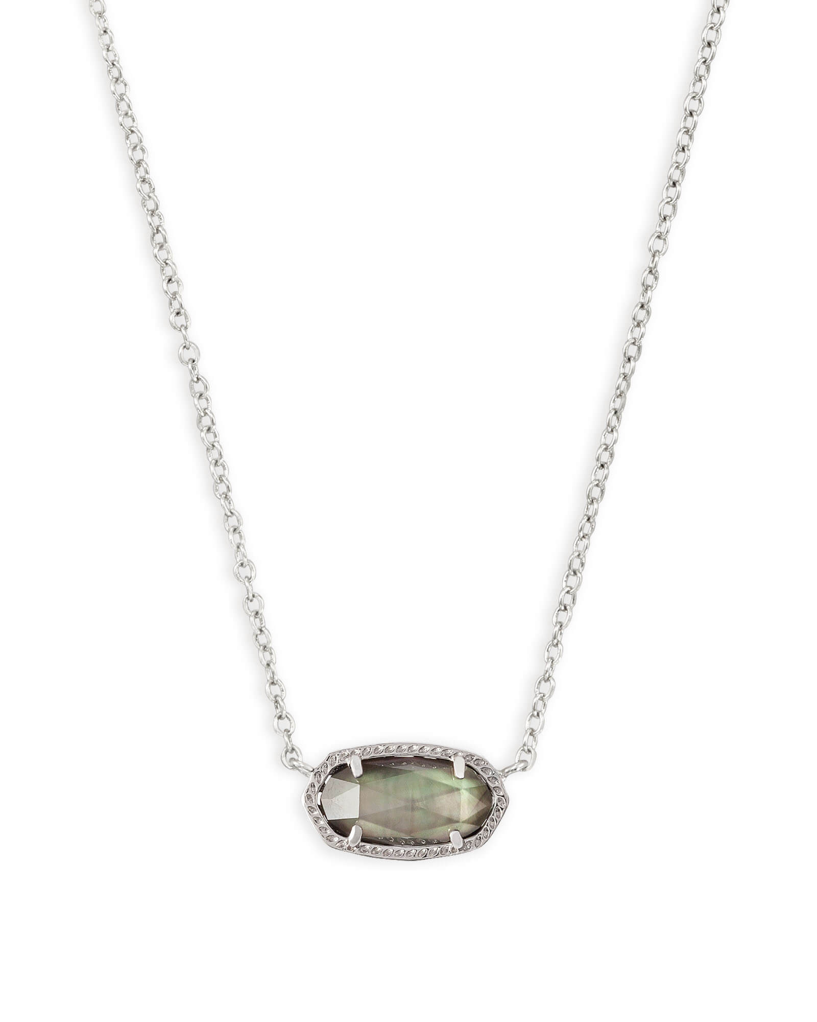 Elisa Silver Pendant Necklace in Black Mother of Pearl