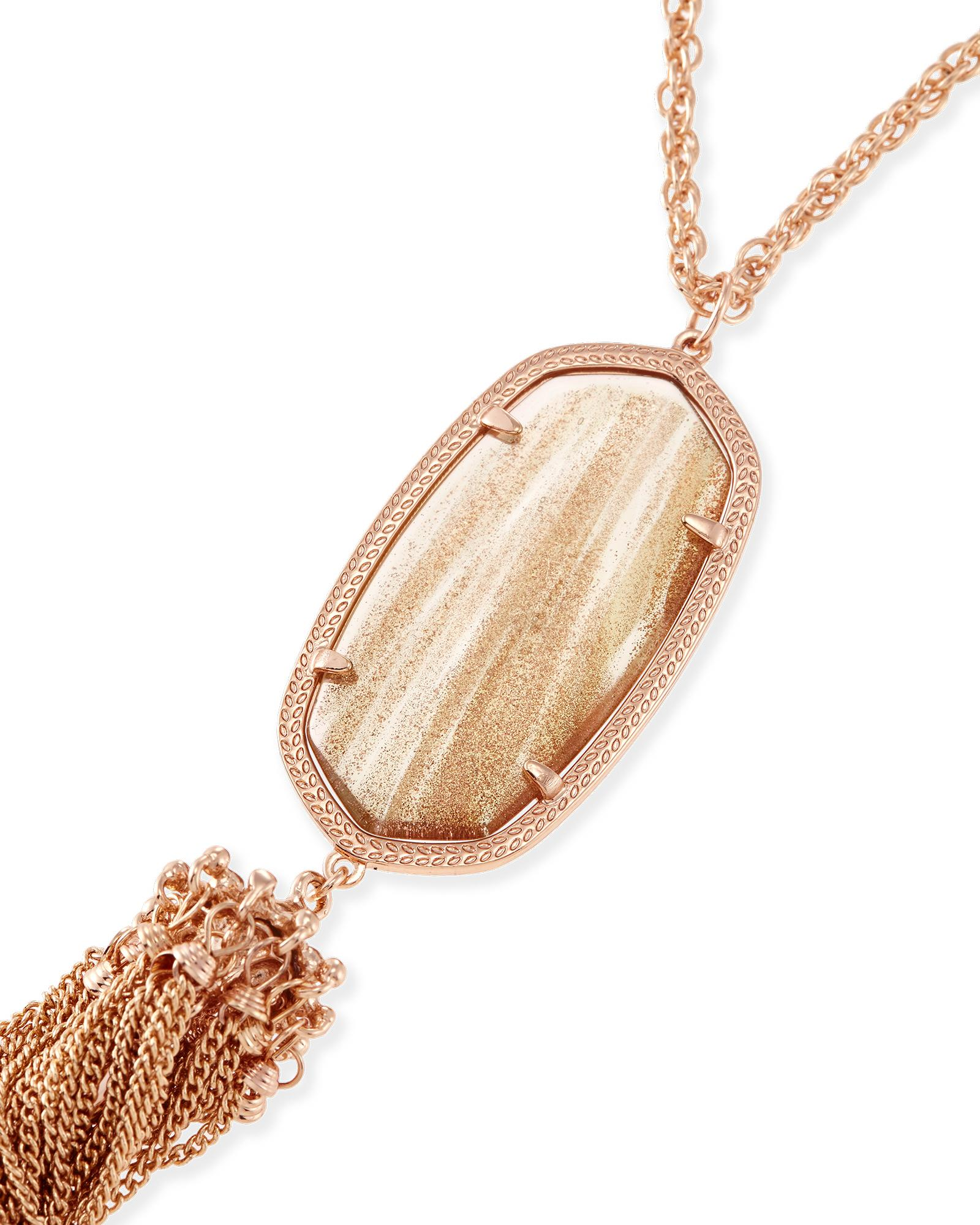 Rayne Long Necklace in Gold Dusted Glass