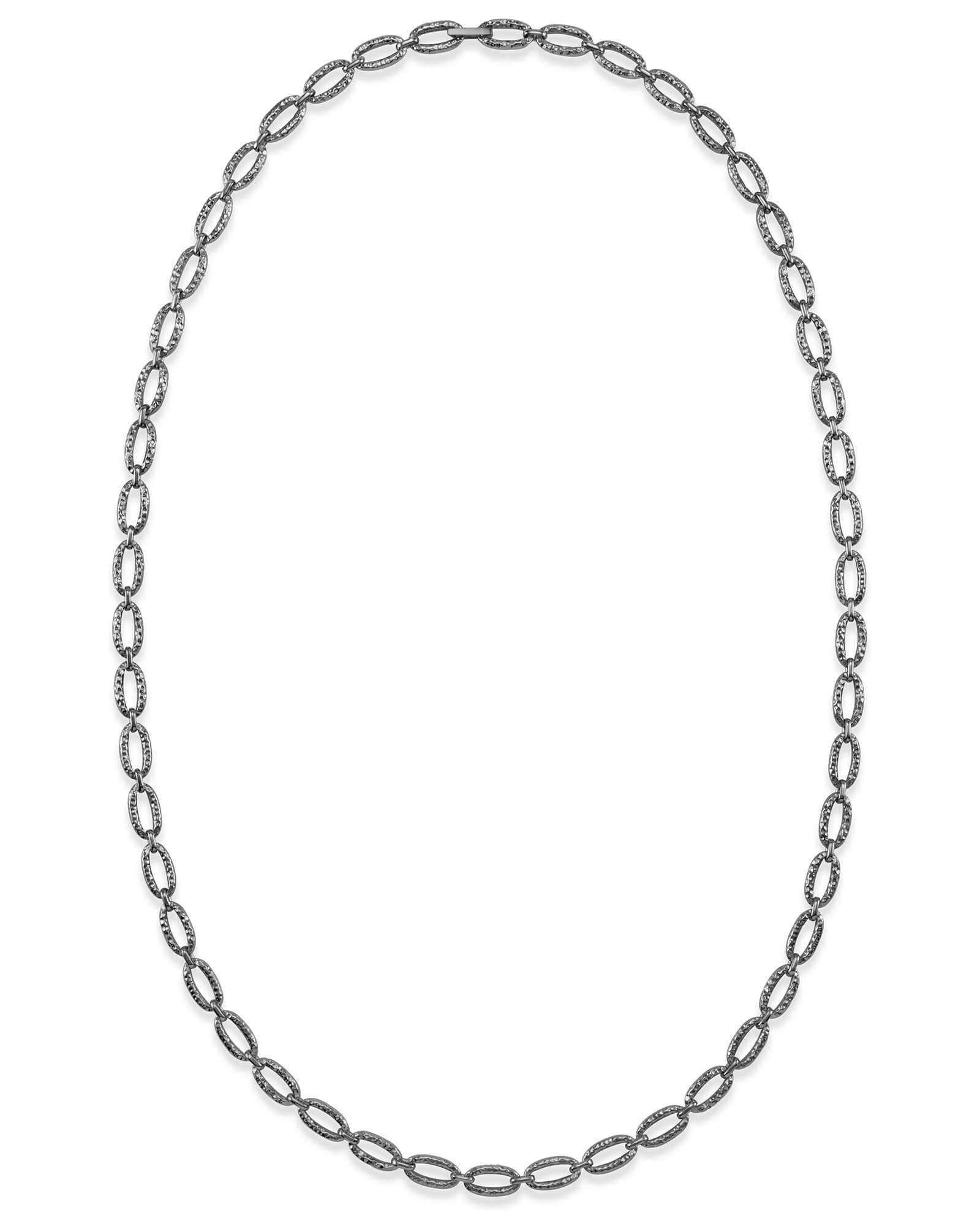 32 Inch Chain Link Necklace in Vintage Silver
