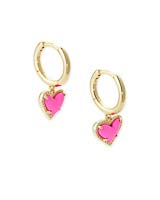 Ari Heart Gold Huggie Earrings in Magenta Magnesite