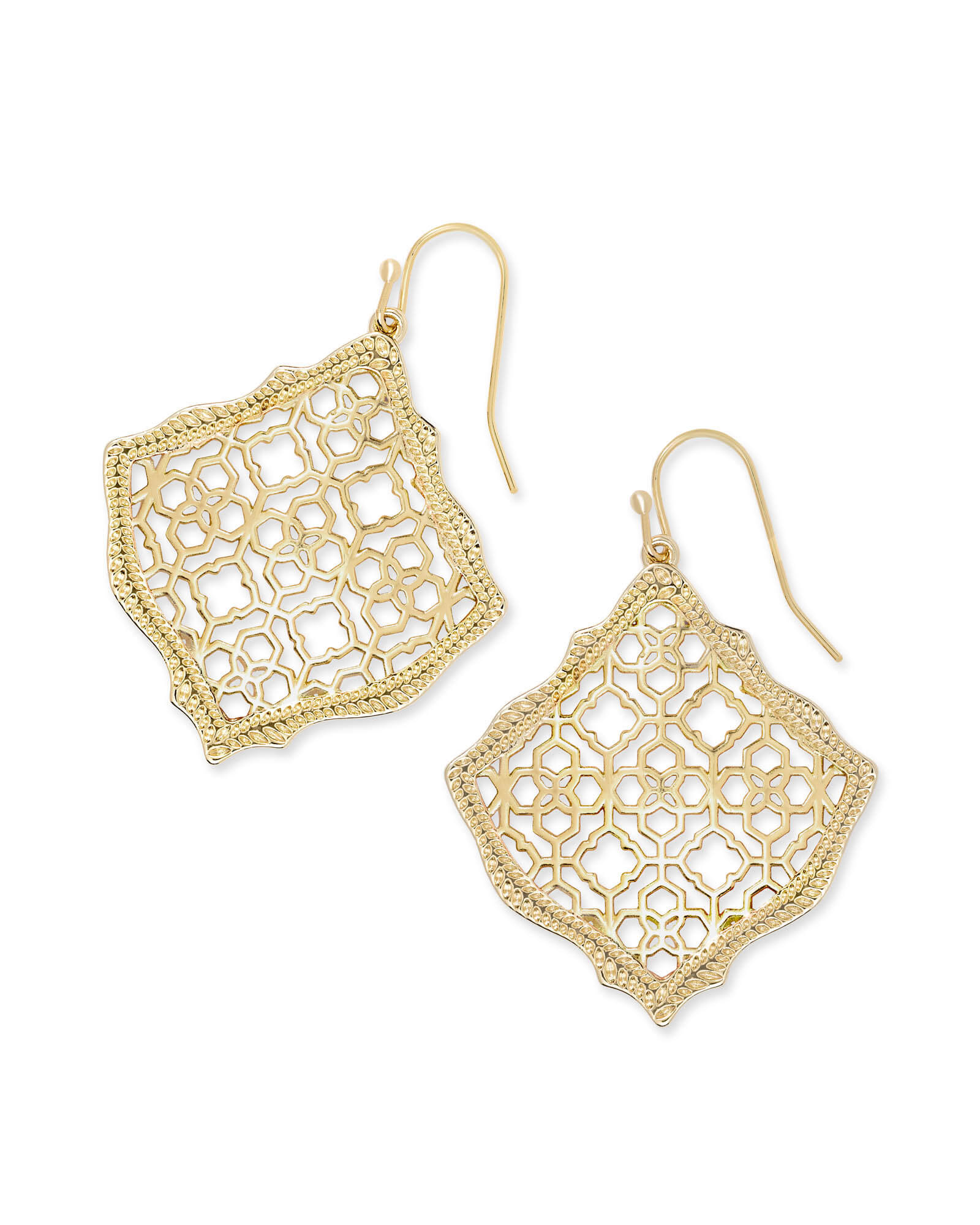 Kirsten Gold Drop Earrings in Gold Filigree Mix