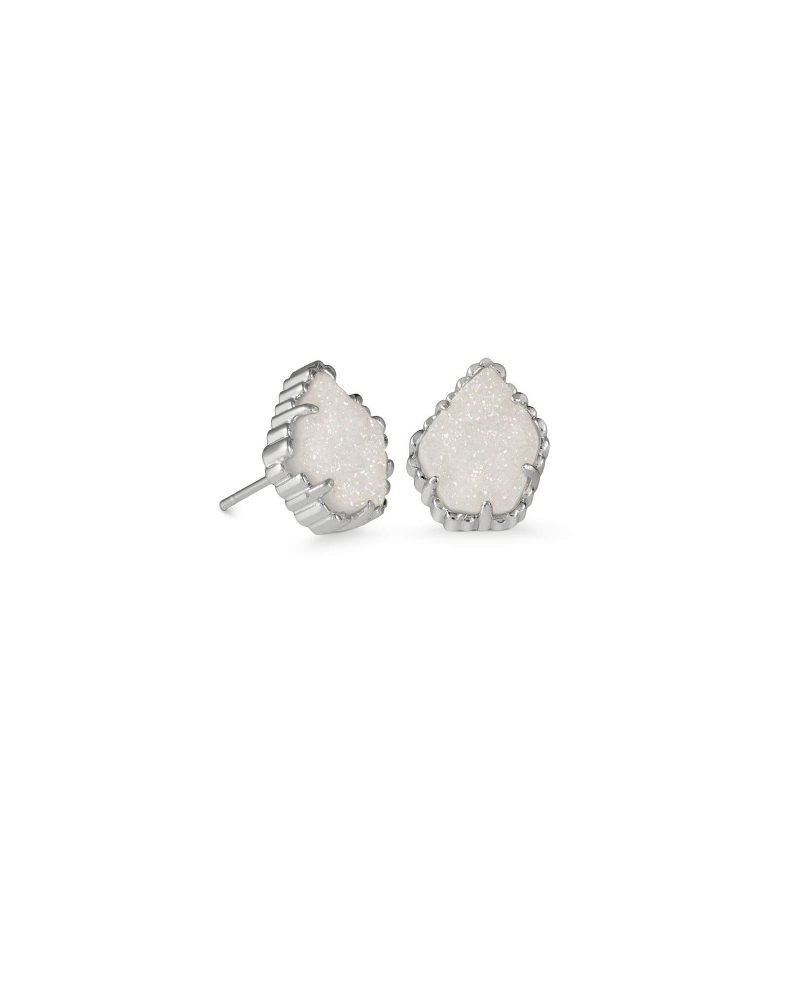 Tessa Silver Stud Earrings in Iridescent Drusy