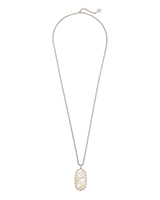 Macrame Reid Silver Long Pendant Necklace In Ivory Mother-Of-Pearl