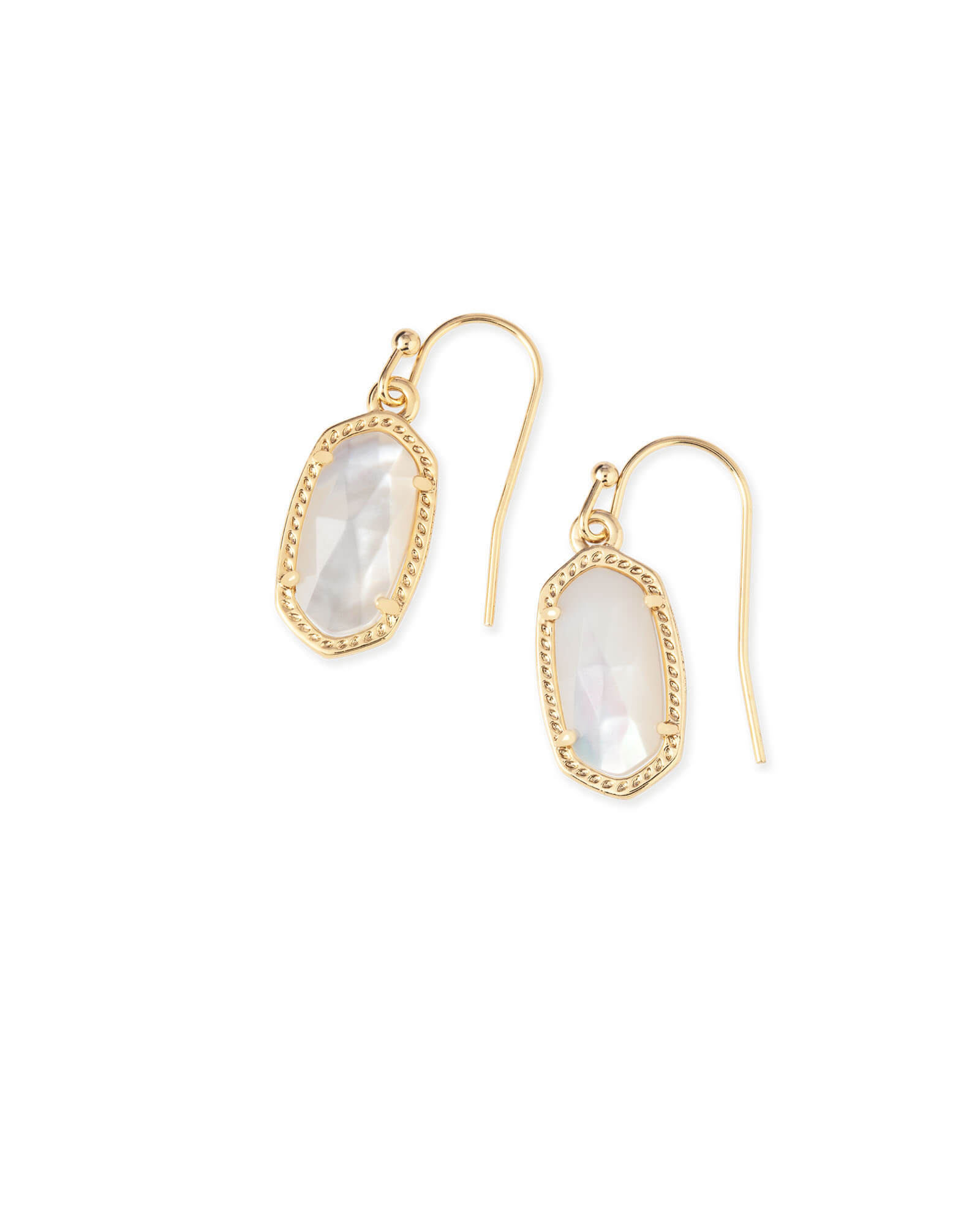 Lee Gold Drop Earrings in Ivory Pearl