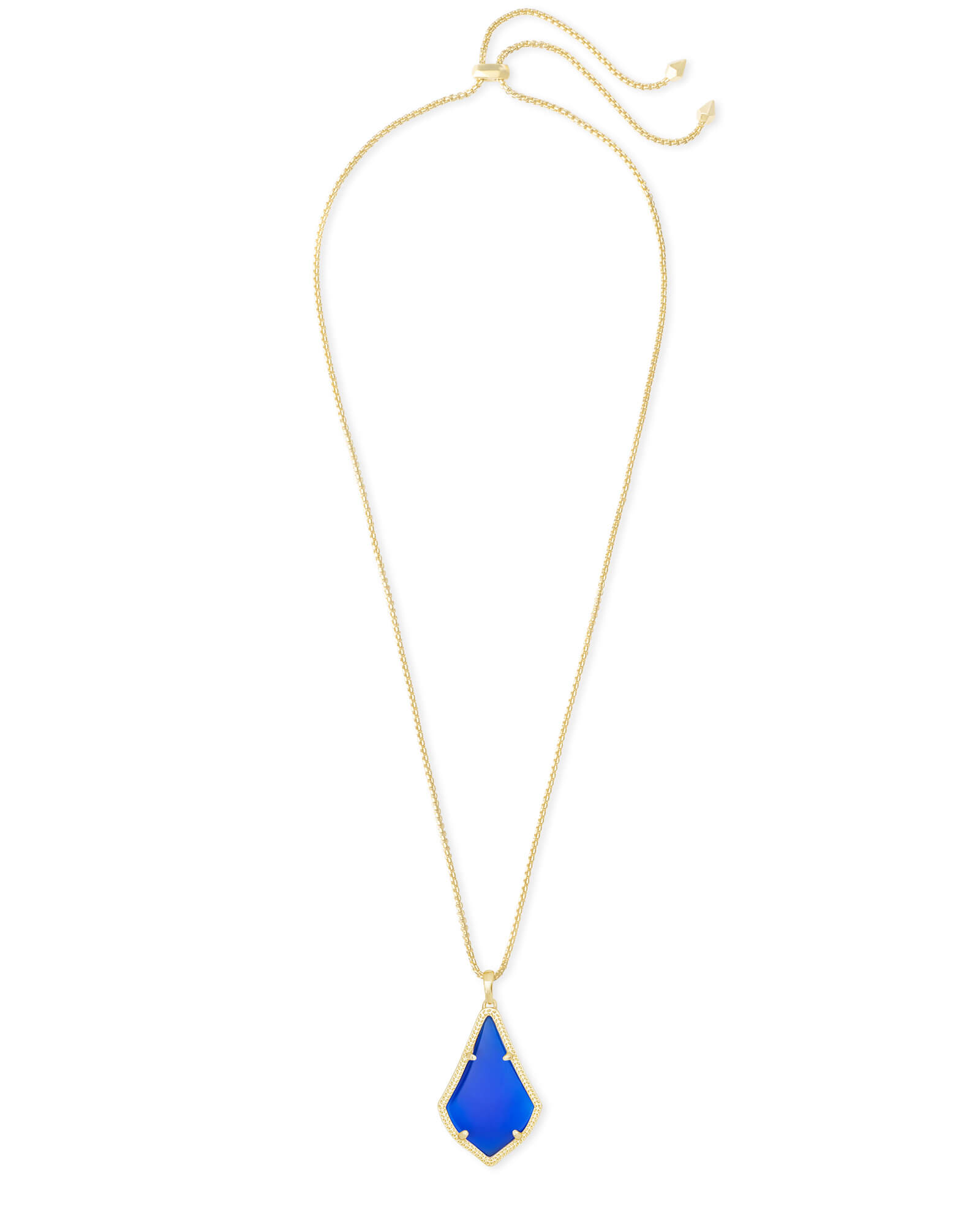 Alex Gold Pendant Necklace in Cobalt Cat's Eye