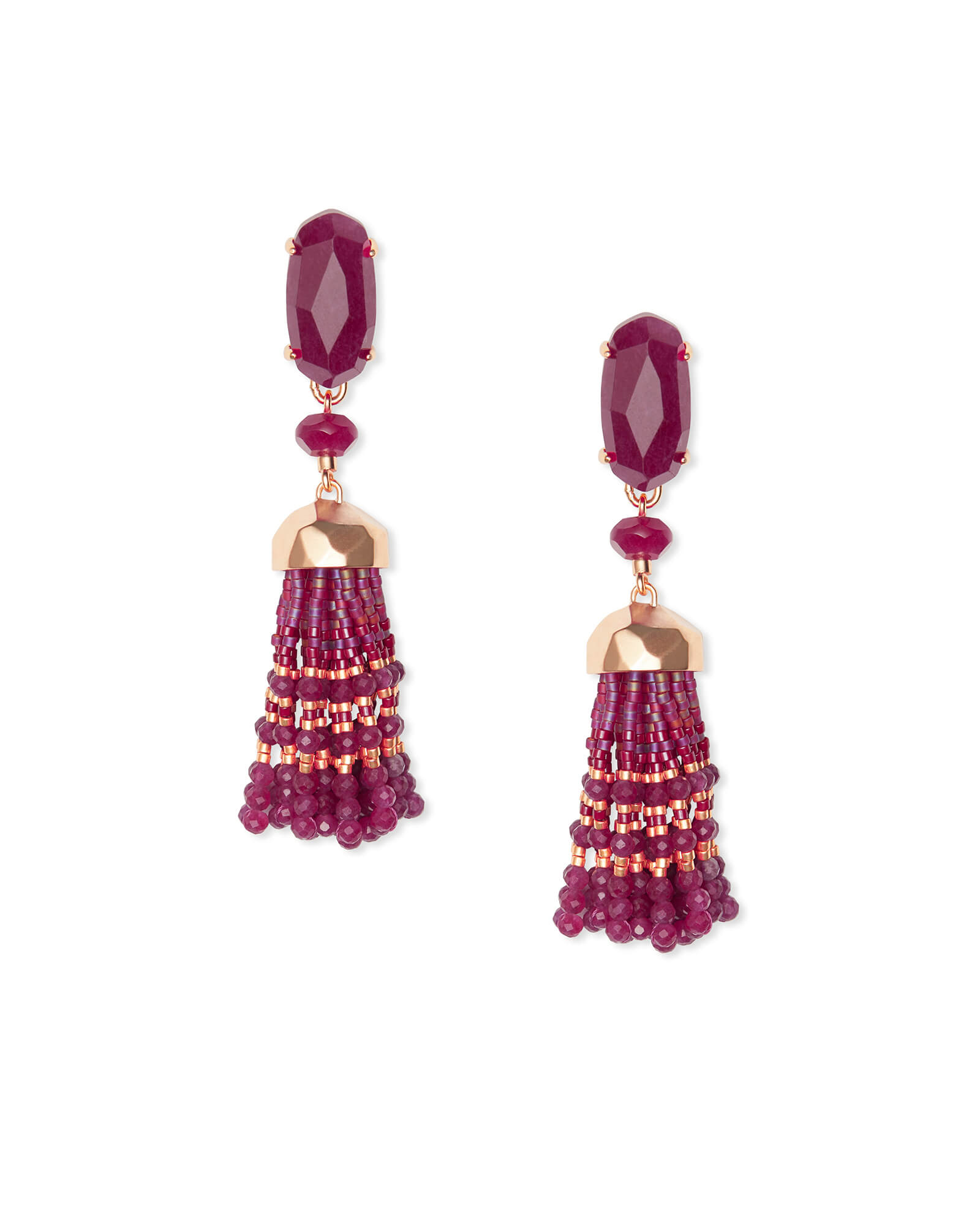 Dove Rose Gold Statement Earrings in Maroon Jade