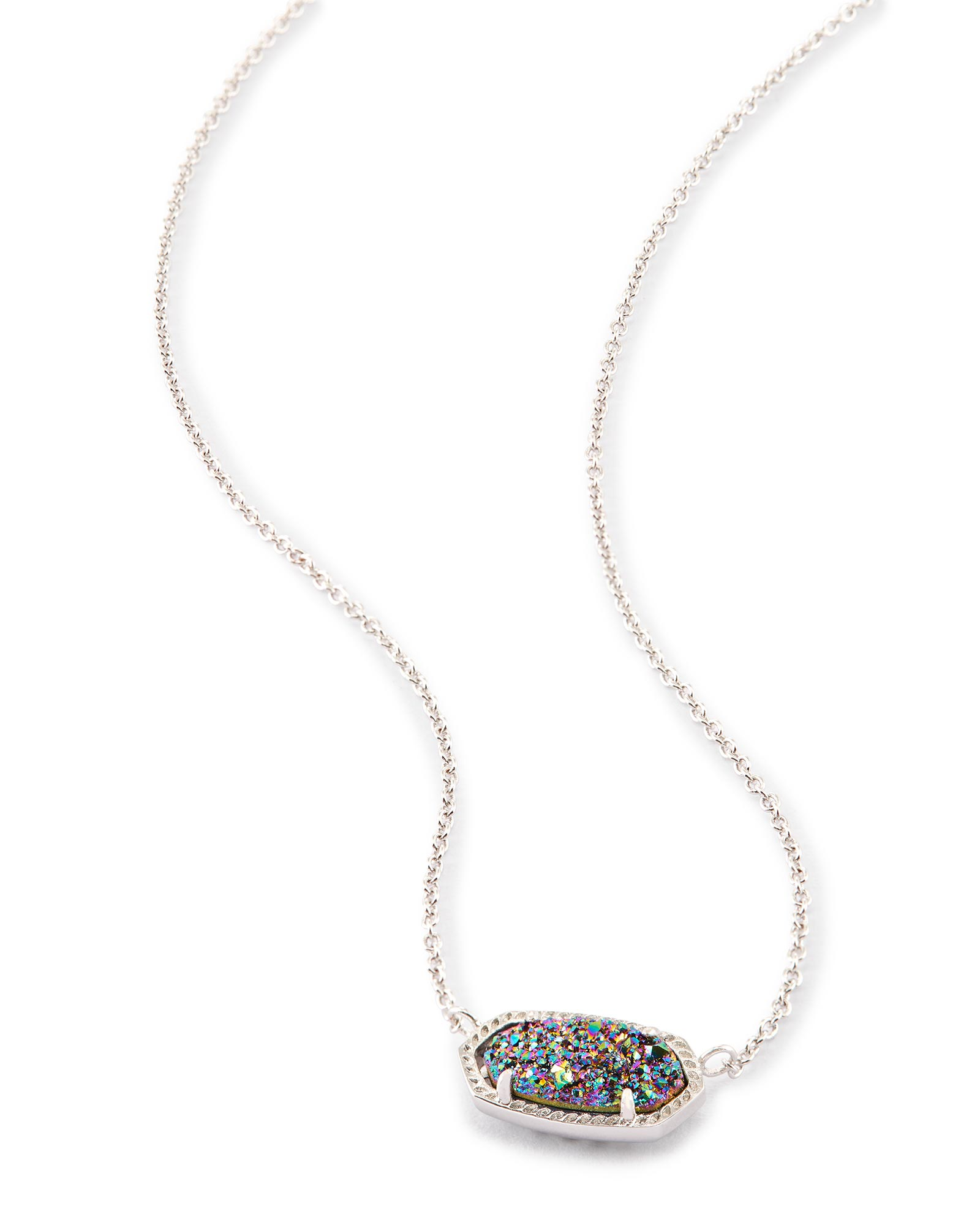 Elisa Silver Pendant Necklace in Multi-Color Drusy