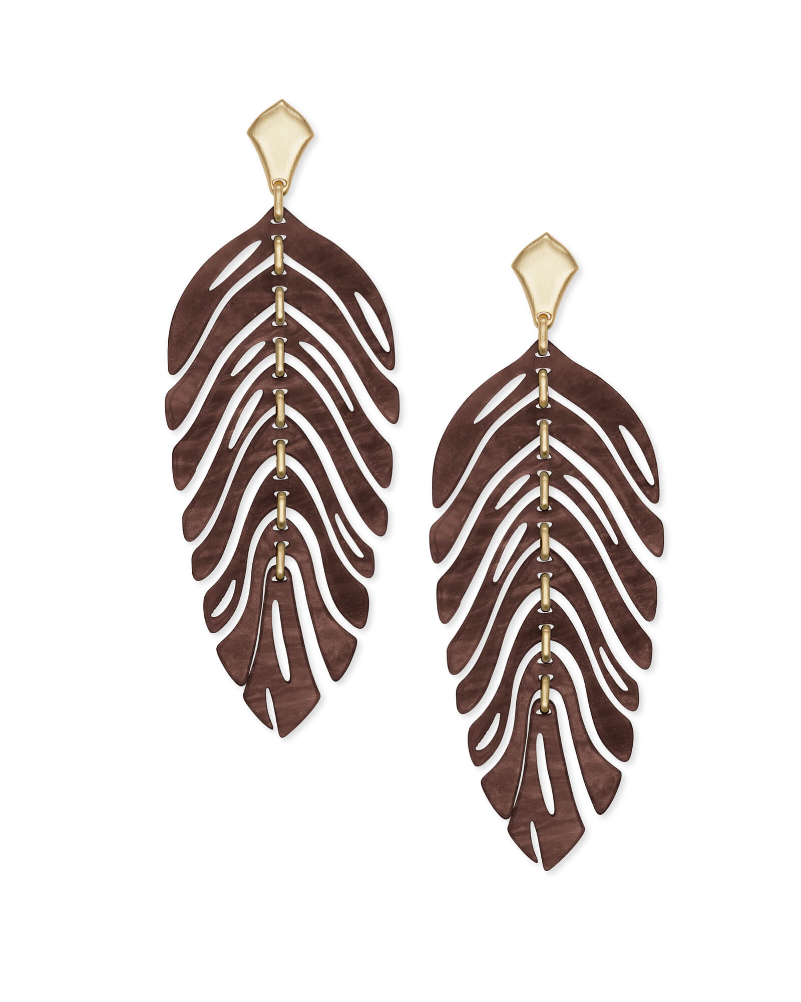 Lotus Gold Statement Earrings in Brown Marbled Acrylic