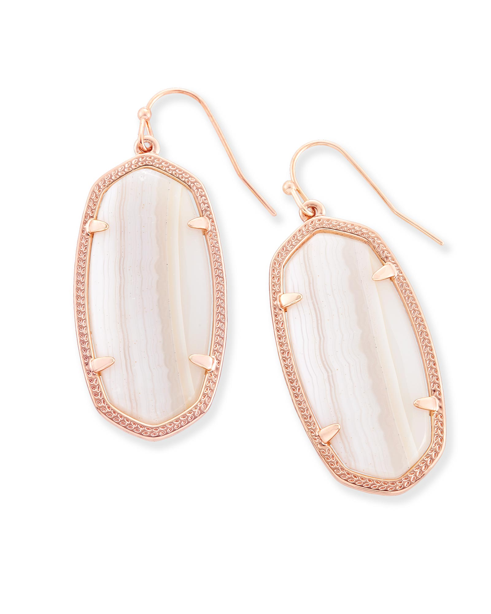 Elle Drop Earrings In Tan Banded Agate