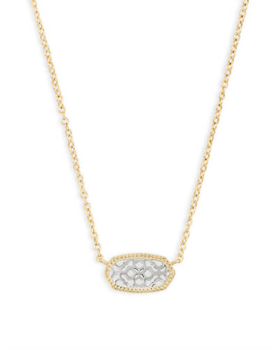 Elisa Gold Pendant Necklace in Silver Filigree