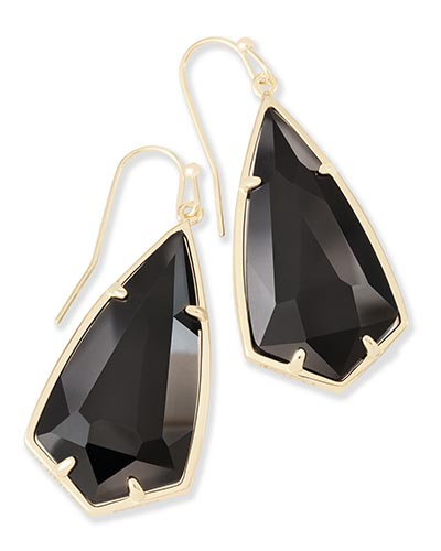Carla Gold Drop Earrings in Black