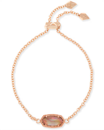Elaina Rose Gold Chain Bracelet in Brown Mother of Pearl