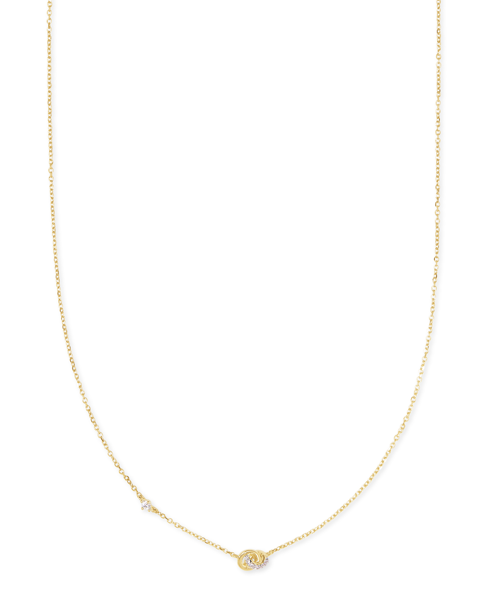 Love Knot 14K Yellow Gold Short Pendant Necklace in White Diamond