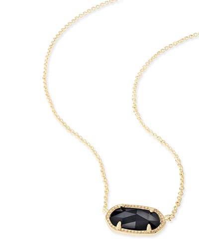 Elisa Gold Pendant Necklace in Black