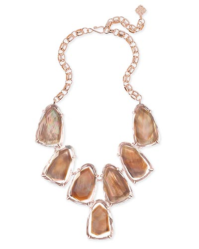 Harlow Statement Necklace in Suspended Brown Pearl