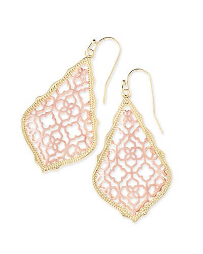 Addie Gold Drop Earrings in Rose Gold Filigree