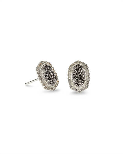 Cade Silver Stud Earrings in Platinum Drusy