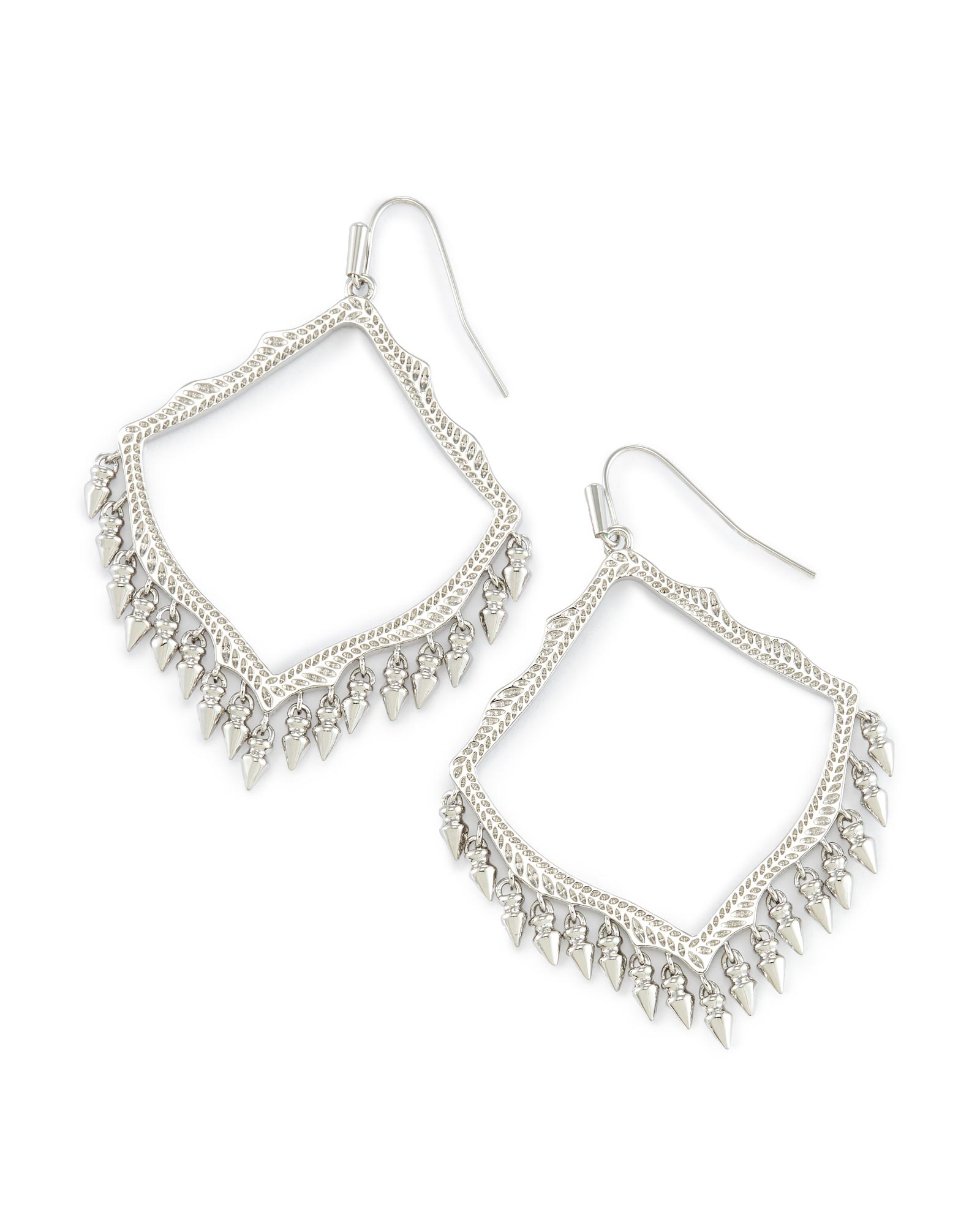 Lacy Drop Earrings In Silver