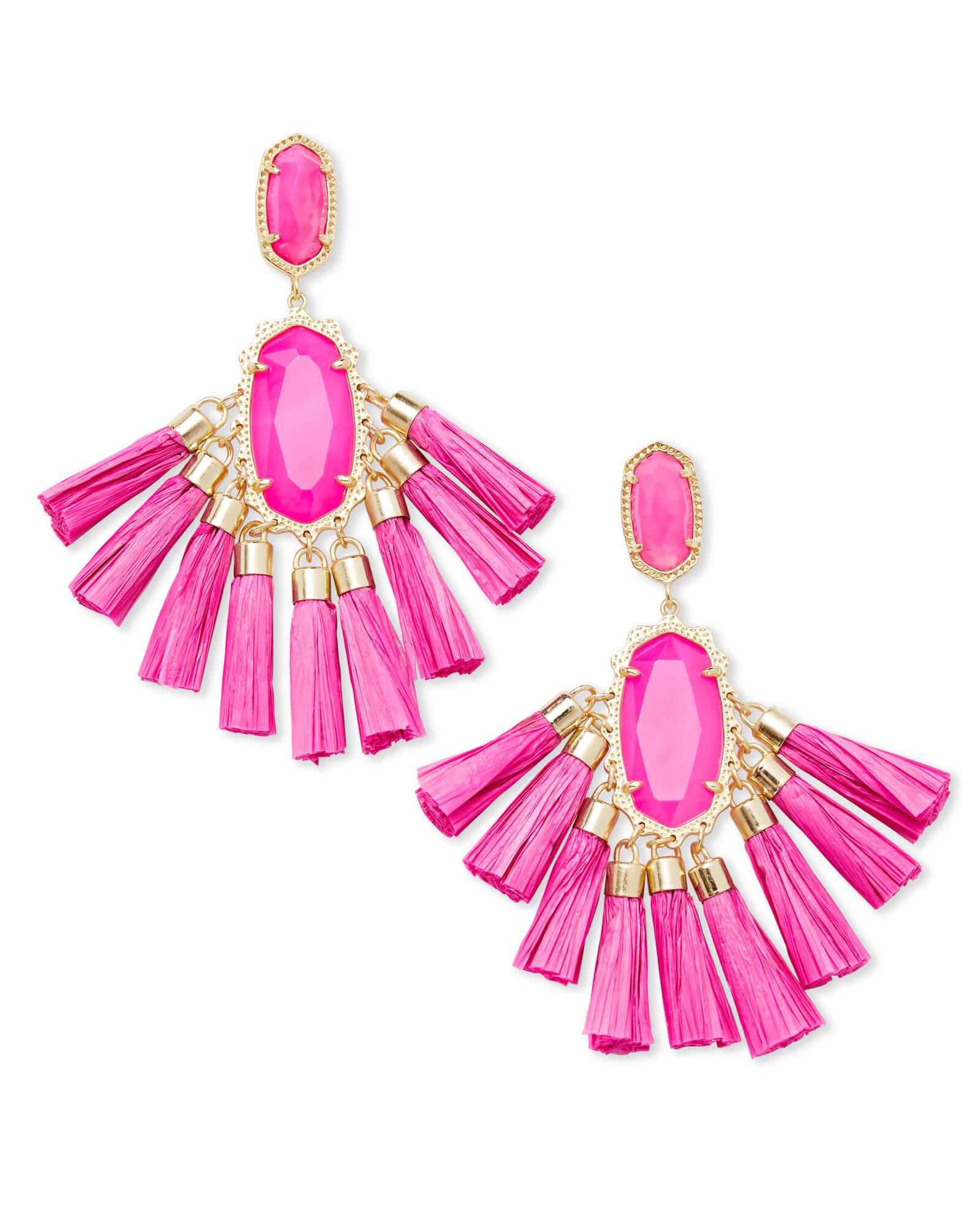 Kristen Gold Statement Earrings In Pink Agate | Kendra Scott