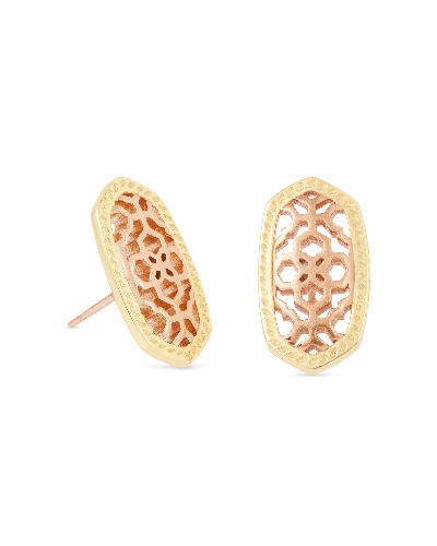 Ellie Gold Stud Earrings in Rose Gold Filigree