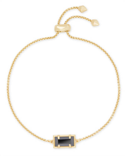 Phillipa Gold Chain Bracelet in Black Opaque Glass