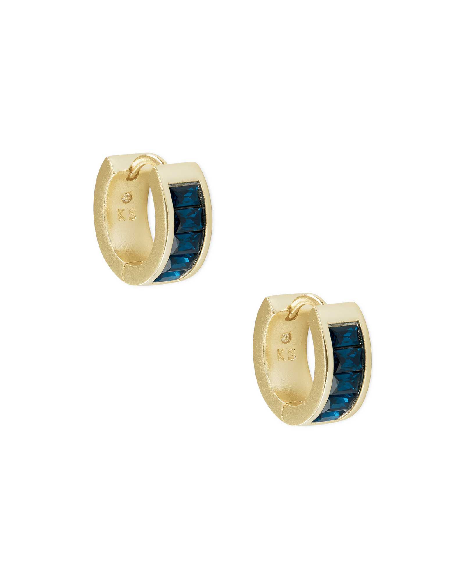 Jack Gold Huggie Earrings in Peacock Blue Crystal