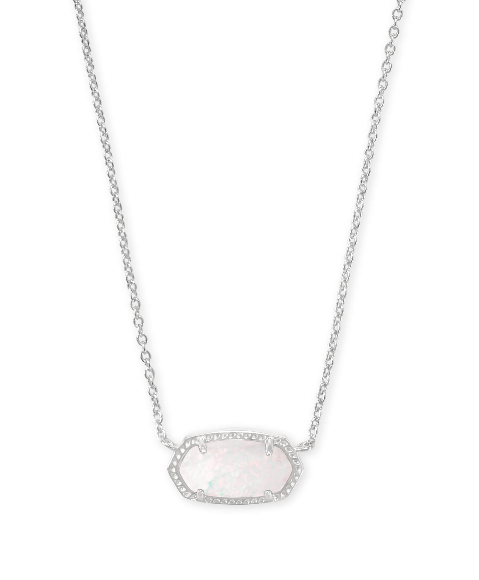 Elisa Silver Pendant Necklace in White Kyocera Opal
