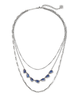 Susanna Vintage Silver Multi Strand Necklace in Navy Wood