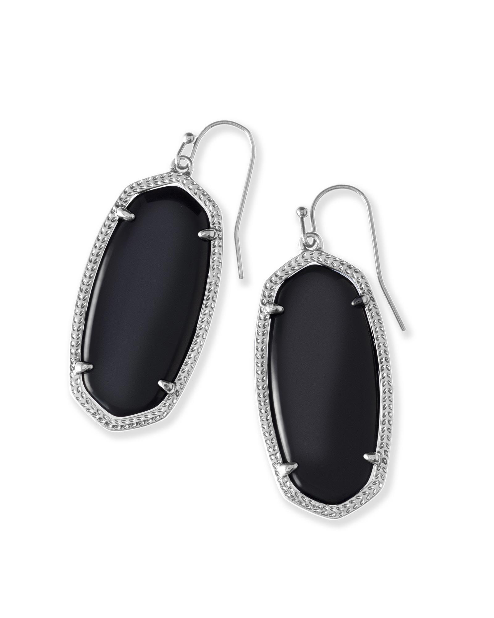 Images Elle Silver Drop Earrings In Black