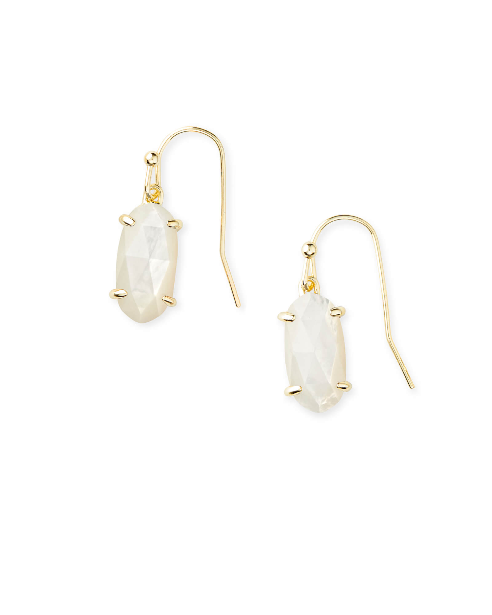 Lemmi Gold Drop Earrings in Ivory Pearl